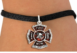 """<BR> WHOLESALE FASHION FIREFIGHTER JEWELRY <bR>                   EXCLUSIVELY OURS!! <Br>              AN ALLAN ROBIN DESIGN!!  <BR>     CLICK HERE TO SEE 1000+ EXCITING <BR>           CHANGES THAT YOU CAN MAKE!  <BR>        LEAD, NICKEL & CADMIUM FREE!!  <BR> W1718SB3 - SILVER TONE AND RED EPOXY  <BR>WITH CRYSTAL ACCENTS """"FIRE MOM"""" SHIELD  <BR>      CHARM ON BLACK SUEDE LEATHERETTE  <BR>   BRACELET FROM $5.40 TO $9.85 �2015"""