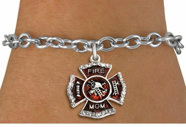 """<BR> WHOLESALE FASHION FIREFIGHTER JEWELRY <bR>                   EXCLUSIVELY OURS!! <Br>              AN ALLAN ROBIN DESIGN!!  <BR>     CLICK HERE TO SEE 1000+ EXCITING <BR>           CHANGES THAT YOU CAN MAKE!  <BR>        LEAD, NICKEL & CADMIUM FREE!!  <BR> W1718SB5 - SILVER TONE AND RED EPOXY  <BR>WITH CRYSTAL ACCENTS """"FIRE MOM"""" SHIELD  <BR>      CHARM ON SILVER TONE TOGGLE CLASP <BR>   BRACELET FROM $5.40 TO $9.85 �2015"""