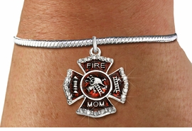 """<BR> WHOLESALE FIREFIGHTER FASHION JEWELRY  <bR>                    EXCLUSIVELY OURS!!  <Br>               AN ALLAN ROBIN DESIGN!!  <BR>         LEAD, NICKEL & CADMIUM FREE!!  <BR>  W1718SB7 - SILVER TONE AND RED EPOXY  <BR>WITH CRYSTAL ACCENTS """"FIRE MOM"""" SHIELD  <BR>   CHARM ON SILVER TONE SNAKE CHAIN <Br> BRACELET FROM $5.98 TO $12.85 �2015"""
