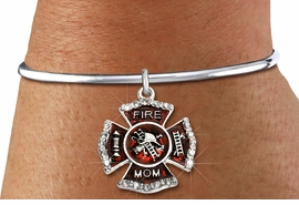 """<BR> WHOLESALE FIREFIGHTER FASHION JEWELRY  <bR>                    EXCLUSIVELY OURS!!  <Br>               AN ALLAN ROBIN DESIGN!!  <BR>         LEAD, NICKEL & CADMIUM FREE!!  <BR>  W1718SB8 - SILVER TONE AND RED EPOXY  <BR>WITH CRYSTAL ACCENTS """"FIRE MOM"""" SHIELD  <BR>   CHARM ON SILVER TONE OPEN CUFF <Br> BRACELET FROM $5.98 TO $12.85 �2015"""
