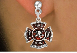 """<BR>  WHOLESALE FIRE SHIELD FASHION EARRINGS  <bR>                    EXCLUSIVELY OURS!!  <Br>               AN ALLAN ROBIN DESIGN!!  <BR>         LEAD, NICKEL & CADMIUM FREE!!  <BR>  W1718SE2 - SILVER TONE AND RED EPOXY  <BR>WITH CRYSTAL ACCENTS """"FIRE MOM"""" SHIELD  <BR>  CHARMS ON SILVER TONE POST EARRINGS  <BR>           FROM $5.40 TO $10.45 �2015"""