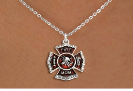 """<BR>     WHOLESALE FASHION FIRE SHIELD JEWELRY  <bR>                        EXCLUSIVELY OURS!!  <Br>                   AN ALLAN ROBIN DESIGN!!  <BR>          CLICK HERE TO SEE 1000+ EXCITING  <BR>                CHANGES THAT YOU CAN MAKE!  <BR>             LEAD, NICKEL & CADMIUM FREE!!  <BR> W1718SN1 - SILVER TONE AND RED EPOXY WITH  <BR>CRYSTAL ACCENTS """"FIRE MOM"""" SHIELD CHARM ON  <BR>  SILVER TONE LOBSTER CLASP CHAIN NECKLACE  <BR>                FROM $5.40 TO $9.85 �2015"""
