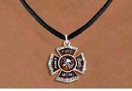 "<BR>     WHOLESALE FASHION FIRE SHIELD JEWELRY  <bR>                        EXCLUSIVELY OURS!!  <Br>                   AN ALLAN ROBIN DESIGN!!  <BR>          CLICK HERE TO SEE 1000+ EXCITING  <BR>                CHANGES THAT YOU CAN MAKE!  <BR>             LEAD, NICKEL & CADMIUM FREE!!  <BR> W1718SN3 - SILVER TONE AND RED EPOXY WITH  <BR>CRYSTAL ACCENTS ""FIRE MOM"" SHIELD CHARM ON  <BR>BLACK SUEDE LEATHERETTE LOBSTER CLASP NECKLACE  <BR>                FROM $5.40 TO $9.85 �2015"