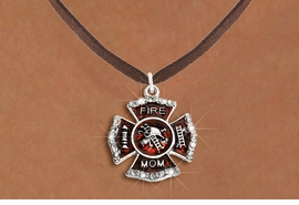 """<BR>     WHOLESALE FASHION FIRE SHIELD JEWELRY  <bR>                        EXCLUSIVELY OURS!!  <Br>                   AN ALLAN ROBIN DESIGN!!  <BR>          CLICK HERE TO SEE 1000+ EXCITING  <BR>                CHANGES THAT YOU CAN MAKE!  <BR>             LEAD, NICKEL & CADMIUM FREE!!  <BR> W1718SN4 - SILVER TONE AND RED EPOXY WITH  <BR>CRYSTAL ACCENTS """"FIRE MOM"""" SHIELD CHARM ON  <BR>BROWN SUEDE LEATHERETTE LOBSTER CLASP NECKLACE  <BR>                FROM $5.40 TO $9.85 �2015"""