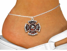 """<bR>  WHOLESALE FIREFIGHTER FASHION JEWELRY <BR>                     EXCLUSIVELY OURS!! <BR>                AN ALLAN ROBIN DESIGN!! <BR>          LEAD, NICKEL & CADMIUM FREE!! <BR>W1719SA1 - SILVER TONE AND RED EPOXY WITH <BR>CRYSTAL ACCENTS """"FIRE WIFE"""" SHIELD CHARM  <Br>   AND ANKLET FROM $4.70 TO $9.35 �2015"""