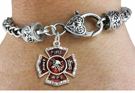 """<BR> WHOLESALE FIREFIGHTER FASHION JEWELRY  <bR>                    EXCLUSIVELY OURS!!  <Br>               AN ALLAN ROBIN DESIGN!!  <BR>         LEAD, NICKEL & CADMIUM FREE!!  <BR>  W1719SB1 - SILVER TONE AND RED EPOXY  <BR>WITH CRYSTAL ACCENTS """"FIRE WIFE"""" SHIELD  <BR> CHARM ON HEART LOBSTER CLASP BRACELET  <Br>          FROM $5.98 TO $12.85 �2015"""