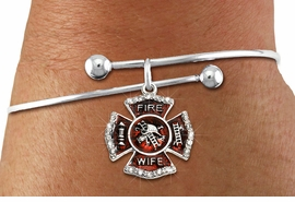 """<BR> WHOLESALE FIREFIGHTER FASHION JEWELRY  <bR>                    EXCLUSIVELY OURS!!  <Br>               AN ALLAN ROBIN DESIGN!!  <BR>         LEAD, NICKEL & CADMIUM FREE!!  <BR>  W1719SB10 - SILVER TONE AND RED EPOXY  <BR>WITH CRYSTAL ACCENTS """"FIRE WIFE"""" SHIELD  <BR> CHARM ON ADJUSTABLE SOLID WIRE BRACELET  <Br>          FROM $5.98 TO $12.85 �2015"""