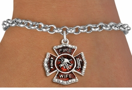 "<BR> WHOLESALE FASHION FIREFIGHTER JEWELRY <bR>                   EXCLUSIVELY OURS!! <Br>              AN ALLAN ROBIN DESIGN!!  <BR>     CLICK HERE TO SEE 1000+ EXCITING <BR>           CHANGES THAT YOU CAN MAKE!  <BR>        LEAD, NICKEL & CADMIUM FREE!!  <BR> W1719SB2 - SILVER TONE AND RED EPOXY  <BR>WITH CRYSTAL ACCENTS ""FIRE WIFE"" SHIELD  <BR>     CHARM ON LOBSTER CLASP BRACELET  <BR>           FROM $5.40 TO $9.85 �2015"