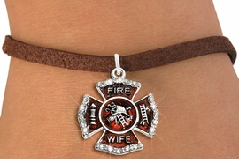"""<BR> WHOLESALE FASHION FIREFIGHTER JEWELRY <bR>                   EXCLUSIVELY OURS!! <Br>              AN ALLAN ROBIN DESIGN!!  <BR>     CLICK HERE TO SEE 1000+ EXCITING <BR>           CHANGES THAT YOU CAN MAKE!  <BR>        LEAD, NICKEL & CADMIUM FREE!!  <BR> W1719SB4 - SILVER TONE AND RED EPOXY  <BR>WITH CRYSTAL ACCENTS """"FIRE WIFE"""" SHIELD  <BR>    CHARM ON BROWN SUEDE LEATHERETTE <BR>  BRACELET FROM $5.40 TO $9.85 �2015"""