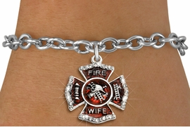 """<BR> WHOLESALE FASHION FIREFIGHTER JEWELRY <bR>                   EXCLUSIVELY OURS!! <Br>              AN ALLAN ROBIN DESIGN!!  <BR>     CLICK HERE TO SEE 1000+ EXCITING <BR>           CHANGES THAT YOU CAN MAKE!  <BR>        LEAD, NICKEL & CADMIUM FREE!!  <BR> W1719SB5 - SILVER TONE AND RED EPOXY  <BR>WITH CRYSTAL ACCENTS """"FIRE WIFE"""" SHIELD  <BR>     CHARM ON TOGGLE CLASP BRACELET  <BR>           FROM $5.40 TO $9.85 �2015"""
