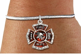 """<BR> WHOLESALE FIREFIGHTER FASHION JEWELRY  <bR>                    EXCLUSIVELY OURS!!  <Br>               AN ALLAN ROBIN DESIGN!!  <BR>         LEAD, NICKEL & CADMIUM FREE!!  <BR>  W1719SB7 - SILVER TONE AND RED EPOXY  <BR>WITH CRYSTAL ACCENTS """"FIRE WIFE"""" SHIELD  <BR> CHARM ON SILVER TONE SNAKE CHAIN BRACELET  <Br>          FROM $5.98 TO $12.85 �2015"""