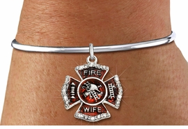 """<BR> WHOLESALE FIREFIGHTER FASHION JEWELRY  <bR>                    EXCLUSIVELY OURS!!  <Br>               AN ALLAN ROBIN DESIGN!!  <BR>         LEAD, NICKEL & CADMIUM FREE!!  <BR>  W1719SB8 - SILVER TONE AND RED EPOXY  <BR>WITH CRYSTAL ACCENTS """"FIRE WIFE"""" SHIELD  <BR> CHARM ON SILVER TONE OPEN CUFF BRACELET  <Br>          FROM $5.98 TO $12.85 �2015"""