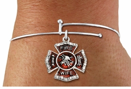 """<BR> WHOLESALE FIREFIGHTER FASHION JEWELRY  <bR>                    EXCLUSIVELY OURS!!  <Br>               AN ALLAN ROBIN DESIGN!!  <BR>         LEAD, NICKEL & CADMIUM FREE!!  <BR>  W1719SB9 - SILVER TONE AND RED EPOXY  <BR>WITH CRYSTAL ACCENTS """"FIRE WIFE"""" SHIELD  <BR> CHARM ON ADJUSTABLE SOLID WIRE BRACELET  <Br>          FROM $5.98 TO $12.85 �2015"""