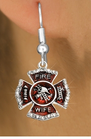 """<BR>  WHOLESALE FIRE SHIELD FASHION EARRINGS  <bR>                    EXCLUSIVELY OURS!!  <Br>               AN ALLAN ROBIN DESIGN!!  <BR>         LEAD, NICKEL & CADMIUM FREE!!  <BR>  W1719SE1 - SILVER TONE AND RED EPOXY  <BR>WITH CRYSTAL ACCENTS """"FIRE WIFE"""" SHIELD  <BR>CHARMS ON SILVER TONE FISHHOOK EARRINGS  <BR>           FROM $5.40 TO $10.45 �2015"""