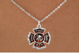 """<BR>     WHOLESALE FASHION FIRE SHIELD JEWELRY  <bR>                        EXCLUSIVELY OURS!!  <Br>                   AN ALLAN ROBIN DESIGN!!  <BR>          CLICK HERE TO SEE 1000+ EXCITING  <BR>                CHANGES THAT YOU CAN MAKE!  <BR>             LEAD, NICKEL & CADMIUM FREE!!  <BR> W1719SN1 - SILVER TONE AND RED EPOXY WITH  <BR>CRYSTAL ACCENTS """"FIRE WIFE"""" SHIELD CHARM ON  <BR>  SILVER TONE LOBSTER CLASP CHAIN NECKLACE  <BR>                  FROM $5.40 TO $9.85 �2015"""
