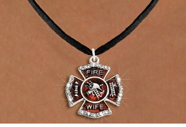 """<BR>     WHOLESALE FASHION FIRE SHIELD JEWELRY  <bR>                        EXCLUSIVELY OURS!!  <Br>                   AN ALLAN ROBIN DESIGN!!  <BR>          CLICK HERE TO SEE 1000+ EXCITING  <BR>                CHANGES THAT YOU CAN MAKE!  <BR>             LEAD, NICKEL & CADMIUM FREE!!  <BR> W1719SN3 - SILVER TONE AND RED EPOXY WITH  <BR>CRYSTAL ACCENTS """"FIRE WIFE"""" SHIELD CHARM ON  <BR>BLACK SUEDE LEATHERETTE NECKLACE  <BR>                  FROM $5.40 TO $9.85 �2015"""