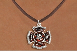 """<BR>     WHOLESALE FASHION FIRE SHIELD JEWELRY  <bR>                        EXCLUSIVELY OURS!!  <Br>                   AN ALLAN ROBIN DESIGN!!  <BR>          CLICK HERE TO SEE 1000+ EXCITING  <BR>                CHANGES THAT YOU CAN MAKE!  <BR>             LEAD, NICKEL & CADMIUM FREE!!  <BR> W1719SN4 - SILVER TONE AND RED EPOXY WITH  <BR>CRYSTAL ACCENTS """"FIRE WIFE"""" SHIELD CHARM ON  <BR>BROWN SUEDE LEATHERETTE NECKLACE  <BR>                  FROM $5.40 TO $9.85 �2015"""