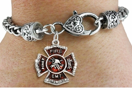 """<BR> WHOLESALE FIREFIGHTER FASHION JEWELRY  <bR>                    EXCLUSIVELY OURS!!  <Br>               AN ALLAN ROBIN DESIGN!!  <BR>         LEAD, NICKEL & CADMIUM FREE!!  <BR>  W1720SB1 - SILVER TONE AND RED EPOXY  <BR>WITH CRYSTAL ACCENTS """"FIRE EMT"""" SHIELD  <BR> CHARM ON HEART LOBSTER CLASP BRACELET  <Br>          FROM $5.98 TO $12.85 �2015"""