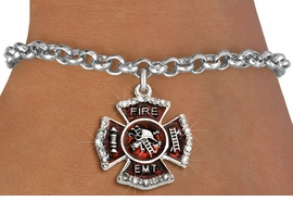 """<BR> WHOLESALE FASHION FIREFIGHTER JEWELRY <bR>                   EXCLUSIVELY OURS!! <Br>              AN ALLAN ROBIN DESIGN!!  <BR>     CLICK HERE TO SEE 1000+ EXCITING <BR>           CHANGES THAT YOU CAN MAKE!  <BR>        LEAD, NICKEL & CADMIUM FREE!!  <BR> W1720SB2 - SILVER TONE AND RED EPOXY  <BR>WITH CRYSTAL ACCENTS """"FIRE EMT"""" SHIELD  <BR>     CHARM ON LOBSTER CLASP BRACELET  <BR>           FROM $5.40 TO $9.85 �2015"""