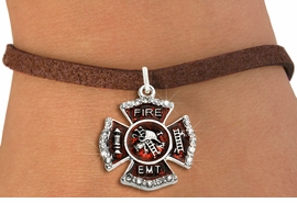 """<BR> WHOLESALE FASHION FIREFIGHTER JEWELRY <bR>                   EXCLUSIVELY OURS!! <Br>              AN ALLAN ROBIN DESIGN!!  <BR>     CLICK HERE TO SEE 1000+ EXCITING <BR>           CHANGES THAT YOU CAN MAKE!  <BR>        LEAD, NICKEL & CADMIUM FREE!!  <BR> W1720SB4 - SILVER TONE AND RED EPOXY  <BR>WITH CRYSTAL ACCENTS """"FIRE EMT"""" SHIELD  <BR>    CHARM ON BROWN SUEDE LEATHERETTE <BR>  BRACELET FROM $5.40 TO $9.85 �2015"""