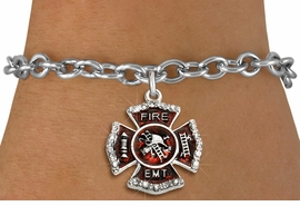 """<BR> WHOLESALE FASHION FIREFIGHTER JEWELRY <bR>                   EXCLUSIVELY OURS!! <Br>              AN ALLAN ROBIN DESIGN!!  <BR>     CLICK HERE TO SEE 1000+ EXCITING <BR>           CHANGES THAT YOU CAN MAKE!  <BR>        LEAD, NICKEL & CADMIUM FREE!!  <BR> W1720SB5 - SILVER TONE AND RED EPOXY  <BR>WITH CRYSTAL ACCENTS """"FIRE EMT"""" SHIELD  <BR>     CHARM ON TOGGLE CLASP BRACELET  <BR>           FROM $5.40 TO $9.85 �2015"""