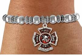 """<BR> WHOLESALE FIREFIGHTER FASHION JEWELRY  <bR>                    EXCLUSIVELY OURS!!  <Br>               AN ALLAN ROBIN DESIGN!!  <BR>         LEAD, NICKEL & CADMIUM FREE!!  <BR>  W1720SB6 - SILVER TONE AND RED EPOXY  <BR>WITH CRYSTAL ACCENTS """"FIRE EMT"""" SHIELD  <BR> CHARM ON SILVER TONE STRETCH BRACELET  <Br>          FROM $5.98 TO $12.85 �2015"""