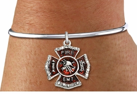 """<BR> WHOLESALE FIREFIGHTER FASHION JEWELRY  <bR>                    EXCLUSIVELY OURS!!  <Br>               AN ALLAN ROBIN DESIGN!!  <BR>         LEAD, NICKEL & CADMIUM FREE!!  <BR>  W1720SB8 - SILVER TONE AND RED EPOXY  <BR>WITH CRYSTAL ACCENTS """"FIRE EMT"""" SHIELD  <BR> CHARM ON SILVER TONE OPEN CUFF STYLE BRACELET  <Br>          FROM $5.98 TO $12.85 �2015"""