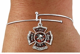 """<BR> WHOLESALE FIREFIGHTER FASHION JEWELRY  <bR>                    EXCLUSIVELY OURS!!  <Br>               AN ALLAN ROBIN DESIGN!!  <BR>         LEAD, NICKEL & CADMIUM FREE!!  <BR>  W1720SB9 - SILVER TONE AND RED EPOXY  <BR>WITH CRYSTAL ACCENTS """"FIRE EMT"""" SHIELD  <BR> CHARM ON ADJUSTABLE THIN SOLID WIRE BRACELET  <Br>          FROM $5.98 TO $12.85 �2015"""