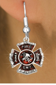 """<BR>  WHOLESALE FIRE SHIELD FASHION EARRINGS  <bR>                    EXCLUSIVELY OURS!!  <Br>               AN ALLAN ROBIN DESIGN!!  <BR>         LEAD, NICKEL & CADMIUM FREE!!  <BR>  W1720SE1 - SILVER TONE AND RED EPOXY  <BR>WITH CRYSTAL ACCENTS """"FIRE EMT"""" SHIELD  <BR>    CHARMS ON SILVER TONE POST EARRINGS  <BR>           FROM $5.40 TO $10.45 �2015"""