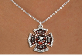 """<BR>     WHOLESALE FASHION FIRE SHIELD JEWELRY  <bR>                        EXCLUSIVELY OURS!!  <Br>                   AN ALLAN ROBIN DESIGN!!  <BR>          CLICK HERE TO SEE 1000+ EXCITING  <BR>                CHANGES THAT YOU CAN MAKE!  <BR>             LEAD, NICKEL & CADMIUM FREE!!  <BR> W1720SN1 - SILVER TONE AND RED EPOXY WITH  <BR>CRYSTAL ACCENTS """"FIRE EMT"""" SHIELD CHARM ON  <BR>  SILVER TONE LOBSTER CLASP CHAIN NECKLACE  <BR>                  FROM $5.40 TO $9.85 �2015"""