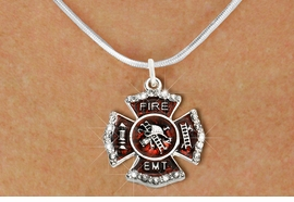 """<BR>     WHOLESALE FASHION FIRE SHIELD JEWELRY  <bR>                        EXCLUSIVELY OURS!!  <Br>                   AN ALLAN ROBIN DESIGN!!  <BR>          CLICK HERE TO SEE 1000+ EXCITING  <BR>                CHANGES THAT YOU CAN MAKE!  <BR>             LEAD, NICKEL & CADMIUM FREE!!  <BR> W1720SN2 - SILVER TONE AND RED EPOXY WITH  <BR>CRYSTAL ACCENTS """"FIRE EMT"""" SHIELD CHARM ON  <BR>  SILVER TONE LOBSTER CLASP SNAKE CHAIN NECKLACE  <BR>                  FROM $5.40 TO $9.85 �2015"""