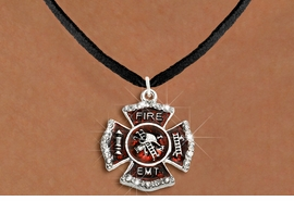 """<BR>     WHOLESALE FASHION FIRE SHIELD JEWELRY  <bR>                        EXCLUSIVELY OURS!!  <Br>                   AN ALLAN ROBIN DESIGN!!  <BR>          CLICK HERE TO SEE 1000+ EXCITING  <BR>                CHANGES THAT YOU CAN MAKE!  <BR>             LEAD, NICKEL & CADMIUM FREE!!  <BR> W1720SN3 - SILVER TONE AND RED EPOXY WITH  <BR>CRYSTAL ACCENTS """"FIRE EMT"""" SHIELD CHARM ON  <BR>  BLACK SUEDE LEATHERETTE NECKLACE  <BR>                  FROM $5.40 TO $9.85 �2015"""