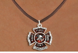 """<BR>     WHOLESALE FASHION FIRE SHIELD JEWELRY  <bR>                        EXCLUSIVELY OURS!!  <Br>                   AN ALLAN ROBIN DESIGN!!  <BR>          CLICK HERE TO SEE 1000+ EXCITING  <BR>                CHANGES THAT YOU CAN MAKE!  <BR>             LEAD, NICKEL & CADMIUM FREE!!  <BR> W1720SN4 - SILVER TONE AND RED EPOXY WITH  <BR>CRYSTAL ACCENTS """"FIRE EMT"""" SHIELD CHARM ON  <BR>  BROWN SUEDE LEATHERETTE NECKLACE  <BR>                  FROM $5.40 TO $9.85 �2015"""