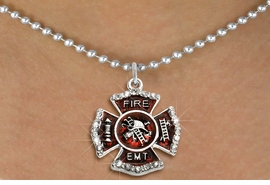 """<BR>     WHOLESALE FASHION FIRE SHIELD JEWELRY  <bR>                        EXCLUSIVELY OURS!!  <Br>                   AN ALLAN ROBIN DESIGN!!  <BR>          CLICK HERE TO SEE 1000+ EXCITING  <BR>                CHANGES THAT YOU CAN MAKE!  <BR>             LEAD, NICKEL & CADMIUM FREE!!  <BR> W1720SN5 - SILVER TONE AND RED EPOXY WITH  <BR>CRYSTAL ACCENTS """"FIRE EMT"""" SHIELD CHARM ON  <BR>  SILVER TONE BALL CHAIN NECKLACE  <BR>                  FROM $5.40 TO $9.85 �2015"""