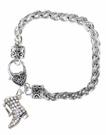 <BR>    WHOLESALE DRILL BOOT JEWELRY  <bR>                    EXCLUSIVELY OURS!!  <Br>               AN ALLAN ROBIN DESIGN!!  <BR>         LEAD, NICKEL, LEAD, & CADMIUM FREE!!  <BR>   W1721B1 - BEAUTIFUL SILVER TONE AND  <BR>                CRYSTAL DRILL BOOT HEART <BR>CHARM ON HEART LOBSTER CLASP BRACELET  <Br>            FROM $5.98 TO $12.85 �2015>