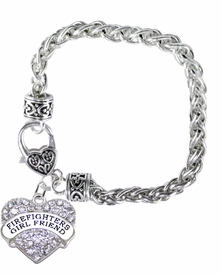 <BR>    WHOLESALE FIREFIGHTER'S GIRLFRIEND JEWELRY  <bR>                    EXCLUSIVELY OURS!!  <Br>               AN ALLAN ROBIN DESIGN!!  <BR>         NICKEL, LEAD, & CADMIUM FREE!!  <BR>   W1728B1 -BEAUTIFUL SILVER TONE AND  <BR>                CRYSTAL FIREFIGHTER'S GIRLFRIEND HEART <BR>CHARM ON HEART LOBSTER CLASP BRACELET  <Br>            FROM $5.98 TO $12.85 �2015