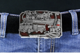 W17311BK - A TRIBUTE TO AMERICAN<BR>   FIREFIGHTERS FROM YESTERDAY<BR>         TO TODAY RED ENAMEL AND <BR> PEWTER FIREFIGHTER BELT BUCKLE<BR>                              $12.40