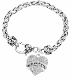 "<BR> WHOLESALE MUSIC / MARCHING BAND JEWELRY     <br>                          HYPOALLERGENIC     <BR>           NICKEL, LEAD & CADMIUM FREE!!     <BR>       W1792B1 - SILVER TONE AND CRYSTAL    <BR>  COVERED ""MARCHING BAND"" HEART CHARM ON     <BR>     HEART SHAPED LOBSTER CLASP BRACELET    <br>              FROM $5.98 TO $12.85 �2015"