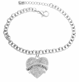 "<BR> WHOLESALE MUSIC / MARCHING BAND JEWELRY     <br>                          HYPOALLERGENIC     <BR>           NICKEL, LEAD & CADMIUM FREE!!     <BR>       W1792B2 - SILVER TONE AND CRYSTAL    <BR>  COVERED ""MARCHING BAND"" HEART CHARM ON     <BR>       CHAIN LINK LOBSTER CLASP BRACELET    <br>              FROM $5.98 TO $12.85 �2015"