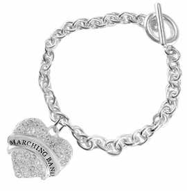 "<BR> WHOLESALE MUSIC / MARCHING BAND JEWELRY     <br>                          HYPOALLERGENIC     <BR>           NICKEL, LEAD & CADMIUM FREE!!     <BR>       W1792B5 - SILVER TONE AND CRYSTAL    <BR>  COVERED ""MARCHING BAND"" HEART CHARM ON     <BR>        CHAIN LINK TOGGLE CLASP BRACELET    <br>              FROM $5.98 TO $12.85 �2015"
