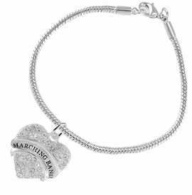 "<BR> WHOLESALE MUSIC / MARCHING BAND JEWELRY      <br>                          HYPOALLERGENIC      <BR>           NICKEL, LEAD & CADMIUM FREE!!      <BR>       W1792B7 - SILVER TONE AND CRYSTAL     <BR>  COVERED ""MARCHING BAND"" HEART CHARM ON      <BR>      SNAKE CHAIN LOBSTER CLASP BRACELET     <br>              FROM $5.98 TO $12.85 �2015"