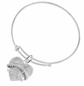 "<BR> WHOLESALE MUSIC / MARCHING BAND JEWELRY      <br>                          HYPOALLERGENIC      <BR>           NICKEL, LEAD & CADMIUM FREE!!      <BR>       W1792B9 - SILVER TONE AND CRYSTAL     <BR>  COVERED ""MARCHING BAND"" HEART CHARM ON      <BR>      SNAKE CHAIN LOBSTER CLASP BRACELET     <br>              FROM $5.98 TO $12.85 �2015"