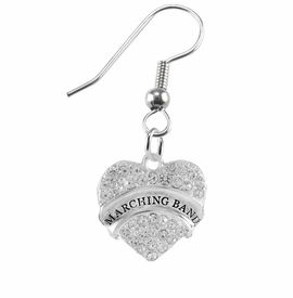 "<BR> WHOLESALE MUSIC / MARCHING BAND JEWELRY      <br>                          HYPOALLERGENIC      <BR>           NICKEL, LEAD & CADMIUM FREE!!      <BR>       W1792E1 - SILVER TONE AND CRYSTAL     <BR>  COVERED ""MARCHING BAND"" HEART CHARM ON      <BR>      STAINLESS STEEL FISH HOOK EARRINGS     <br>              FROM $5.98 TO $12.85 �2015"