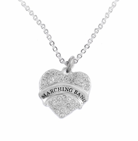 "<BR> WHOLESALE MUSIC / MARCHING BAND JEWELRY      <br>                          HYPOALLERGENIC      <BR>           NICKEL, LEAD & CADMIUM FREE!!      <BR>       W1792N1 - SILVER TONE AND CRYSTAL     <BR>  COVERED ""MARCHING BAND"" HEART CHARM ON      <BR>       CHAIN LINK LOBSTER CLASP NECKLACE <br>              FROM $5.98 TO $12.85 �2015"