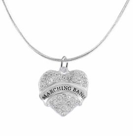 "<BR> WHOLESALE MUSIC / MARCHING BAND JEWELRY      <br>                          HYPOALLERGENIC      <BR>           NICKEL, LEAD & CADMIUM FREE!!      <BR>       W1792N2 - SILVER TONE AND CRYSTAL     <BR>  COVERED ""MARCHING BAND"" HEART CHARM ON      <BR>      SNAKE CHAIN LOBSTER CLASP NECKLACE <br>              FROM $5.98 TO $12.85 �2015"