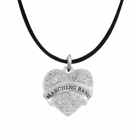 "<BR> WHOLESALE MUSIC / MARCHING BAND JEWELRY      <br>                          HYPOALLERGENIC      <BR>           NICKEL, LEAD & CADMIUM FREE!!      <BR>       W1792N3 - SILVER TONE AND CRYSTAL     <BR>  COVERED ""MARCHING BAND"" HEART CHARM ON      <BR>        BLACK SUEDE LEATHERETTE NECKLACE <br>              FROM $5.98 TO $12.85 �2015"