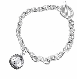 <BR>            WHOLESALE SOCCER SPORTS JEWELRY   <BR>                         EXCLUSIVELY OURS!!        <Br>                    AN ALLAN ROBIN DESIGN!!       <BR>                             HYPOALLERGENIC     <BR>               NICKEL, LEAD & CADMIUM FREE!        <BR>   W1804B5 - 3D SPHERE SOCCER BALL CHARM ON     <BR>      CHAIN LINK BRACELET WITH TOGGLE CLASP <BR>                 FROM $6.23 TO $11.75 �2016