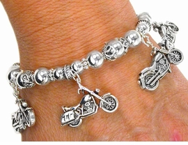"W1925B- ""I LOVE MOTORCYCLES""<BR>       BRACELET AS LOW AS $5.15"