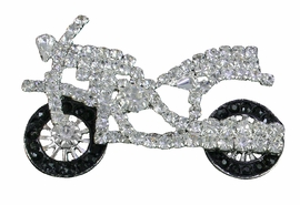 <Br> WHOLESALE FASHION LAPEL PIN <BR>               LEAD & NICKEL FREE!! <Br> W20639P - SILVER TONE AND GENUINE <Br>     CRYSTAL MOTORCYCLE LAPEL PIN <Br>          FROM $4.50 TO $10.00 �2013