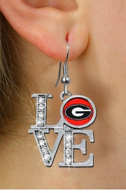 "<Br> OFFICIALLY LICENSED COLLEGIATE ITEM!! <Br>               LEAD & NICKEL FREE!!<Br>W20642E - UNIVERSITY OF GEORGIA<Br>   ""LOVE"" AUSTRIAN CRYSTAL EARRINGS <Br>         FROM $2.99"